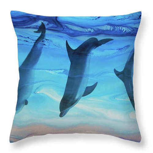 Delphinus Throw Pillow featuring the painting Merienda by Angel Ortiz