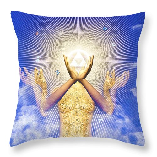 Throw Pillow featuring the painting Merkaba Awakening by Robby Donaghey