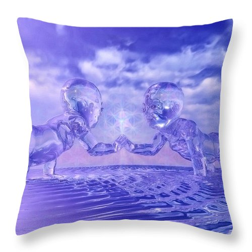 Merkaba Throw Pillow featuring the painting Merkaba Babies by Robby Donaghey