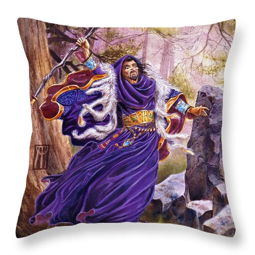 Artwork Throw Pillow featuring the painting Merlin by Melissa A Benson