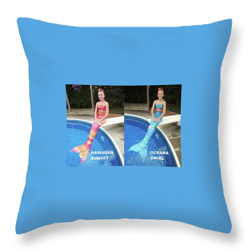 Mermaid Tail For Kids In Canada Throw Pillow featuring the digital art Mermaid Costume For Kids In Canada by Fantasyfin