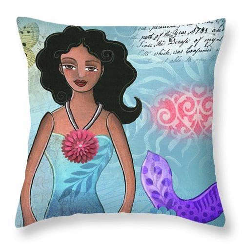 Mermaid Throw Pillow featuring the mixed media Mermaid Dream 1 by Elaine Jackson