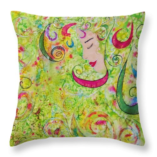 Silk Throw Pillow featuring the tapestry - textile Mermaid Dreams by Robin Becker