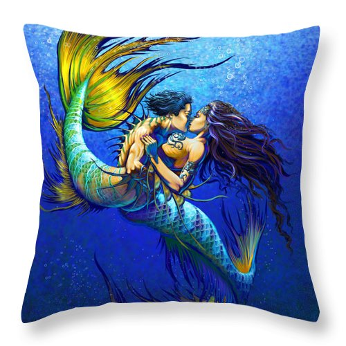 Mermaid Throw Pillow featuring the painting Mermaid Kiss by Stanley Morrison