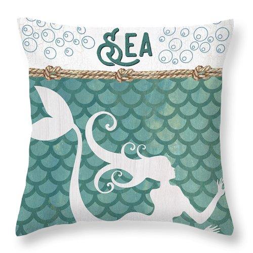 Mermaid Throw Pillow featuring the painting Mermaid Waves 2 by Debbie DeWitt