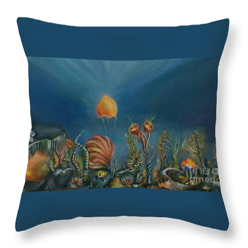 Seabed Throw Pillow featuring the painting Mermaids' Blink by Despoina Ntarda