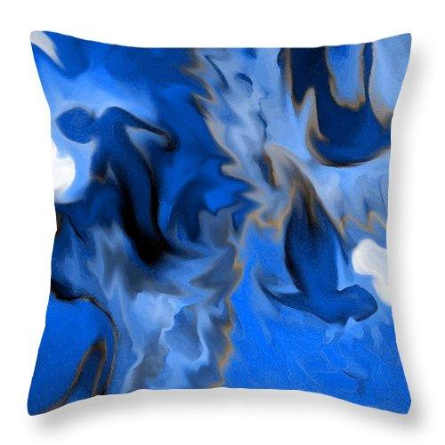 Mermaids Throw Pillow featuring the digital art Mermaids by Shelley Jones