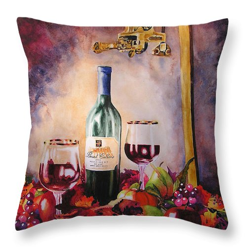 Wine Throw Pillow featuring the painting Merriment by Karen Stark