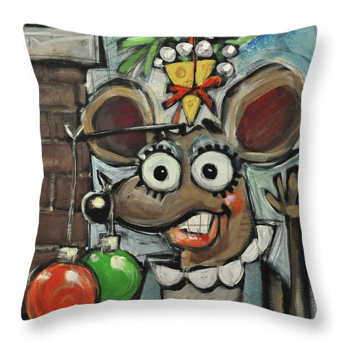 Christmas Throw Pillow featuring the painting Merry Chrismouse by Tim Nyberg