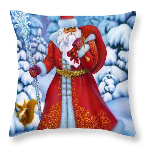 Beautiful Throw Pillow featuring the painting Merry Christmas by Eldar Zakirov
