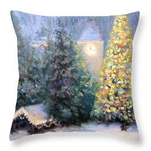 Christmas Throw Pillow featuring the painting Merry Christmas From Vail by Bunny Oliver