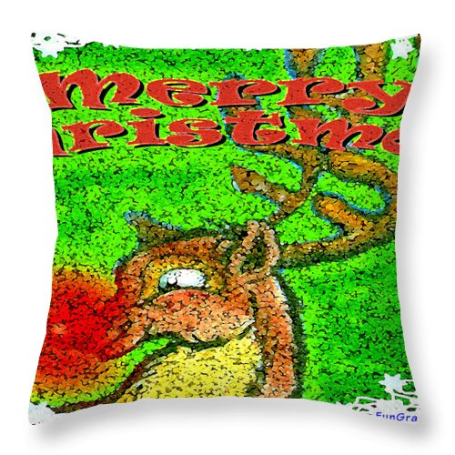 Merry Christmas Throw Pillow featuring the greeting card Merry Christmas Reindeer by Kevin Middleton