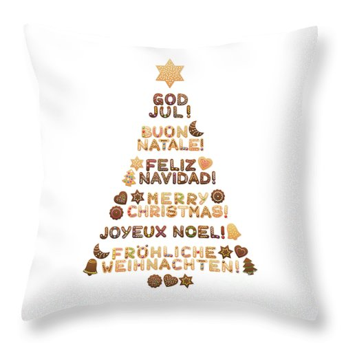 Merry Christmas In Different Languages.Merry Christmas Tree Different Languages Throw Pillow