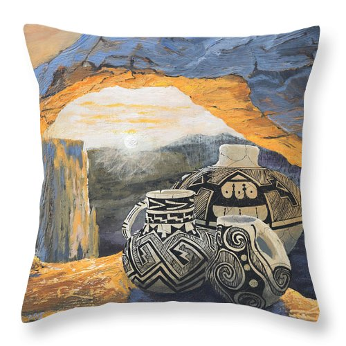 Native American Throw Pillow featuring the painting Mesa Arch Magic by Jerry McElroy