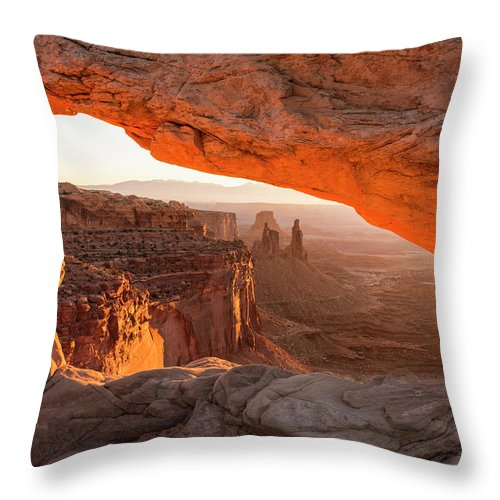 Mesa Arch Sunrise Canyonlands National Park Moab Utah Throw Pillow featuring the photograph Mesa Arch Sunrise 5 - Canyonlands National Park - Moab Utah by Brian Harig