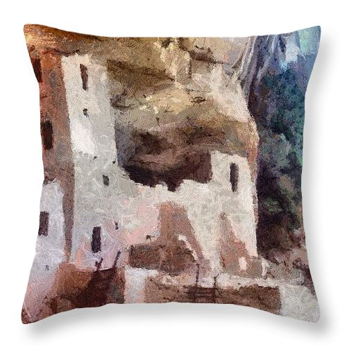 American Southwest Throw Pillow featuring the painting Mesa Verde by Jeffrey Kolker