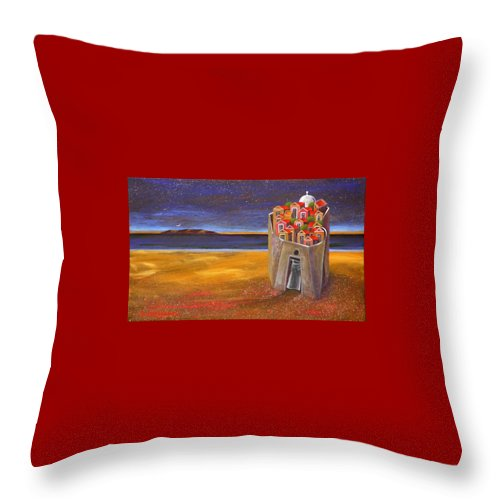 Superrealism Throw Pillow featuring the painting Mesi Castle Village by Dimitris Milionis