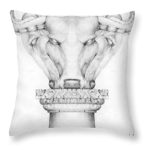 Bull Throw Pillow featuring the drawing Mesopotamian Capital by Curtiss Shaffer