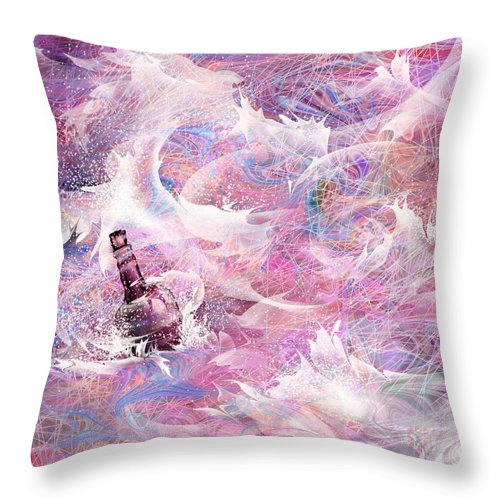 Message Throw Pillow featuring the digital art Message In A Bottle by Rachel Christine Nowicki