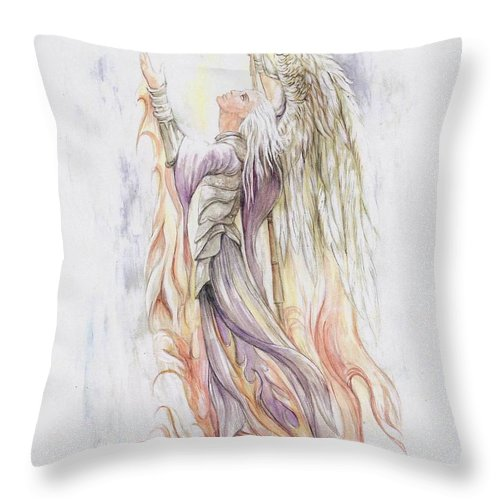 Angel Throw Pillow featuring the painting Messenger by Morgan Fitzsimons
