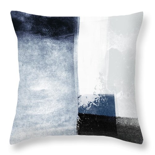 Blue Throw Pillow featuring the mixed media Mestro 3- Abstract Art by Linda Woods by Linda Woods