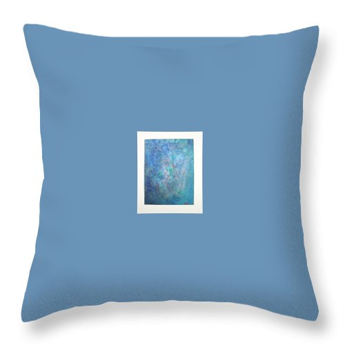 Metal Throw Pillow featuring the painting Metal And Water Abstract. by Lizzy Forrester