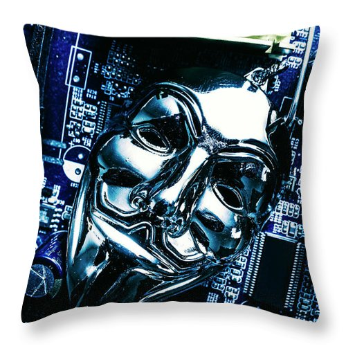 Cyber Throw Pillow featuring the photograph Metal Anonymous Mask On Motherboard by Jorgo Photography - Wall Art Gallery
