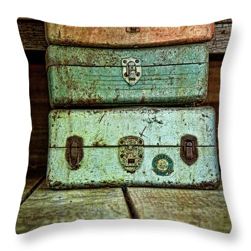 Box Throw Pillow featuring the photograph Metal Boxes by Tom Mc Nemar