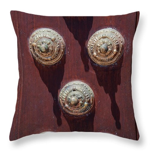 Palacio Arzobispal De Lima Throw Pillow featuring the photograph Metal Door Ornaments by Bob Phillips