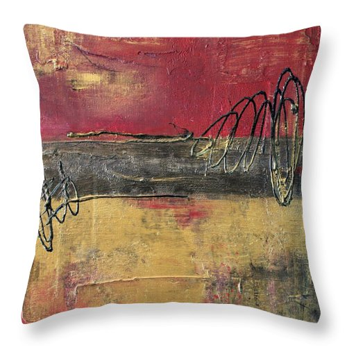 Red Throw Pillow featuring the painting Metallic Square Series I - Red And Gold Urban Abstract Painting by Liz Moran