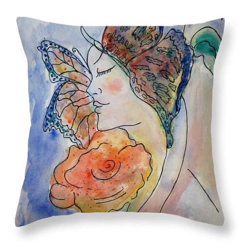 Watercolor Painting Throw Pillow featuring the painting Metamorphosis by Robin Monroe