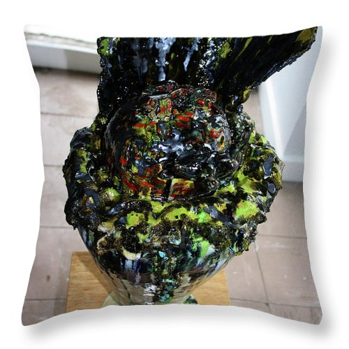 Jesus Throw Pillow featuring the sculpture Methadone Explosion View Three by Gloria Ssali