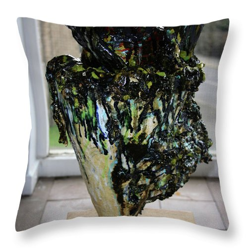 Jesus Throw Pillow featuring the sculpture Methadone Explosion View Two by Gloria Ssali