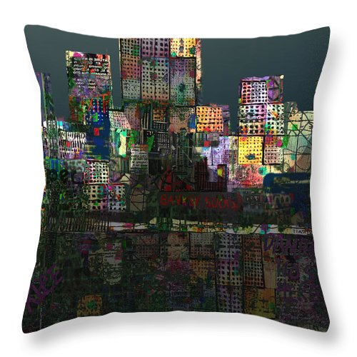 City Throw Pillow featuring the digital art Metropolis After The Storm by Andy Mercer