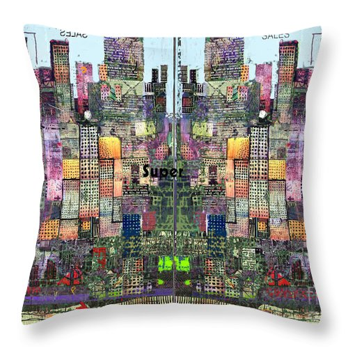 Metro Throw Pillow featuring the digital art Metropolis Vi by Andy Mercer