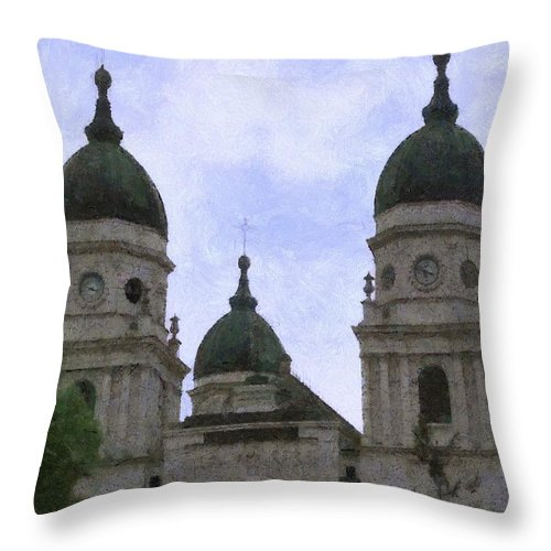 Chapel Throw Pillow featuring the painting Metropolitan Cathedral by Jeffrey Kolker