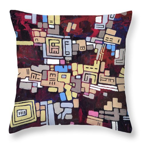 Abstract Throw Pillow featuring the painting Mexica by Douglas Simonson