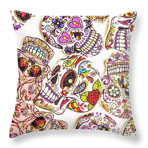 Halloween Throw Pillow featuring the photograph Mexican Sugar Skulls by Jorgo Photography - Wall Art Gallery