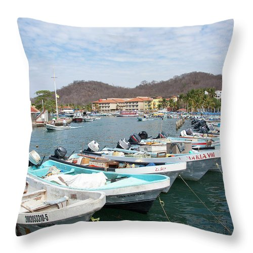 Boats Throw Pillow featuring the photograph Mexican Transportation by Ramunas Bruzas