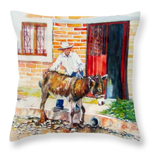 Mexico Paintings Throw Pillow featuring the painting Mexico-el Burrito by Estela Robles