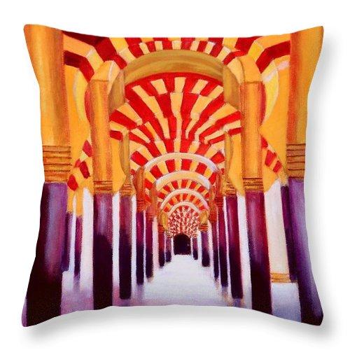 Monument Throw Pillow featuring the painting Mezquita De Cordoba by Manuel Sanchez