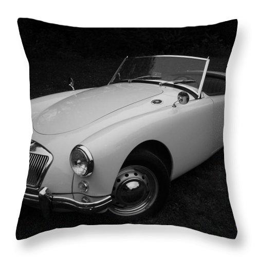 Morris Throw Pillow featuring the photograph Mg - Morris Garages by Juergen Weiss