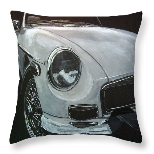 Mgb Throw Pillow featuring the painting MGB by Richard Le Page