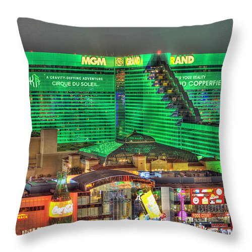 Mgm Grand Throw Pillow featuring the photograph MGM Grand Las Vegas by Nicholas Grunas