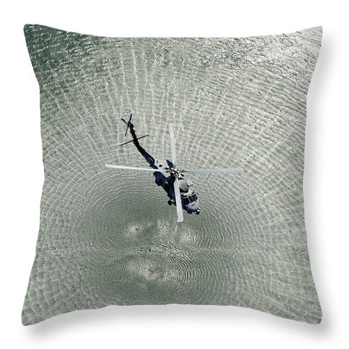 Hsm 71 Throw Pillow featuring the painting Mh-60r Sea Hawk Helicopter by Celestial Images