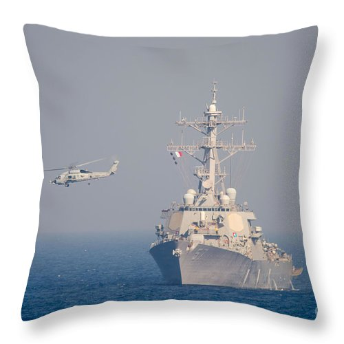 Anthony R. Martinez Throw Pillow featuring the painting Mh-60r Sea Hawk Helicopter Flies by Celestial Images