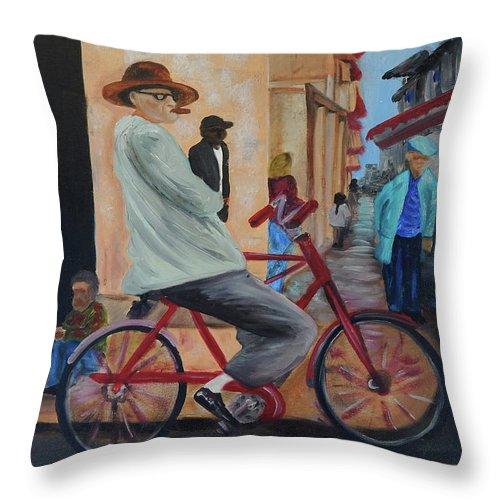 Bicicleta Throw Pillow featuring the painting Mi Bicicleta by Jorge Delara