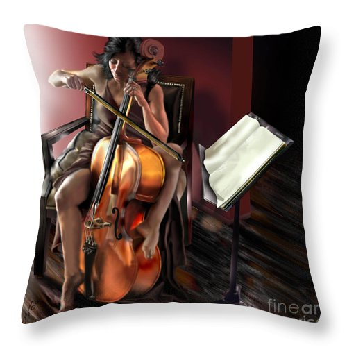 Cello Throw Pillow featuring the painting Mi Chica - Solace In The Unseen by Reggie Duffie