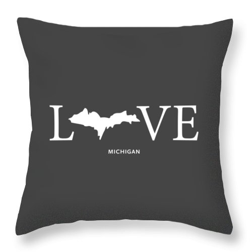 Michigan Throw Pillow featuring the mixed media Mi Love by Nancy Ingersoll