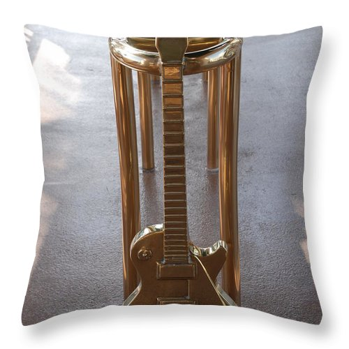 Brass Throw Pillow featuring the photograph Miami Hard Rock Brass Rail by Rob Hans